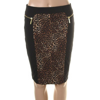 MICHAEL Michael Kors Womens Petites Ponte Animal Print Pencil Skirt