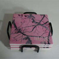 Personalized Pink Camo Coasters