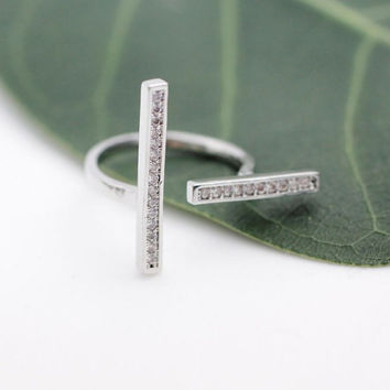 Long double Bar ring - dual bar ring - unique ring - birthday gift - trend ring - double ring - free shipping - gift idea