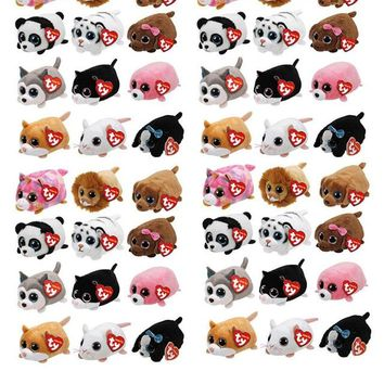 10CM Mini teeny tys Ty Plush Toys Beanie Boos Big Eyes fox unicorn Pocket TSUM Candy pig Stuffed Doll Pink Owl TY Baby Kids Gift