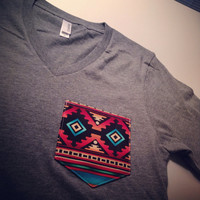 Custom V-Neck with Aztec Pocket- Premium Colors
