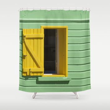 Yellow Window, Green Wall Shower Curtain by Cinema4design