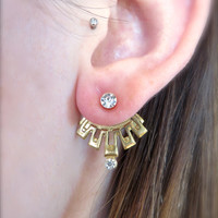 Aztec Ear Jackets Earring Post 2-Piece Drop Split Front Back In Out Brass Jewelry Tribal Clear Crystal Studs