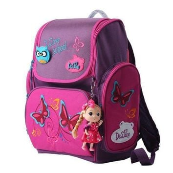 High Quality Brand Delune Super Light 3d Reflective Children Free Doll School Bag Kids Students Cartoon Backpack Girl Travel Bag