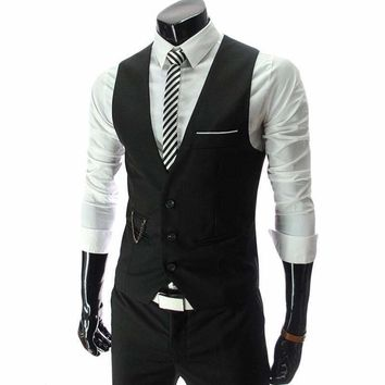 2016 New Arrival Formal Suit Vest Men Slim Fit Mens Vest Male Waistcoat Gilet Homme Casual Sleeveless Formal Business Jacket 4XL