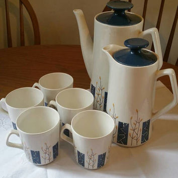 BESWICK coffee set/1960s vintage pottery/coffee pot /hot water pot /coffee cups Apollo design /ships worldwide from UK