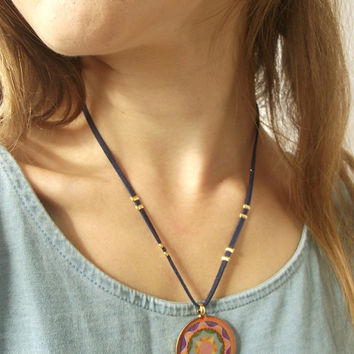 On Sale Mandala Leather Necklace - Mandala Pendant - Yoga Jewelry - Colorful Long Necklace - Colorful Pendant - Spiritual Jewelry - Leather