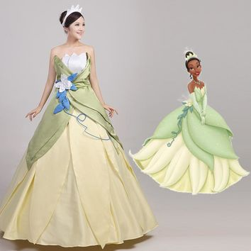 2017 New Halloween The Princess and the Frog Gown Princess Tiana Evening Dress Fantasy Women Wedding Party Cosplay Costume