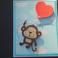 Monkey and Balloon Happy Birthday Card on Handmade Artists' Shop