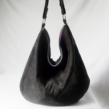 Black Hobo - Vegan suede slouch bag - Handmade handbag - Pick your COLOR
