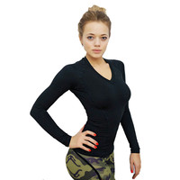 Women Spring Autumn Stretch T shirt Top Compression Shirt Slim Long Sleeve Cotton T-shirts
