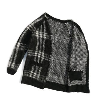 Plaid Knit Cardigan