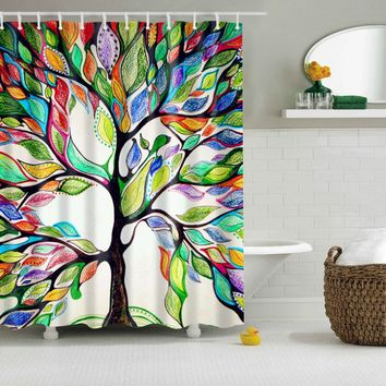 Comfortable and Simple Colorful Family Tree Pattern Shower Curtains Two Size 180*180cm / 150*180cm Waterproof Bathroom Curtain