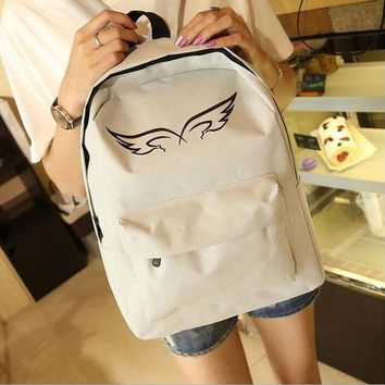 University College Backpack 2018 new angel wings double back canvas student bag unisex   wind fashion Laptop travel AT_63_4