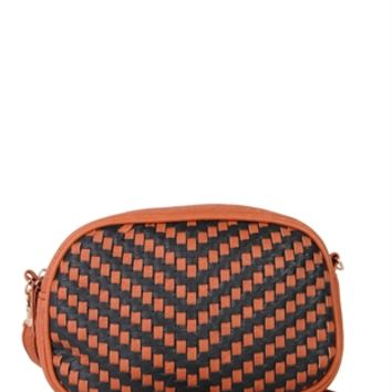 Crossbody Bag with Two Tone Basket Weave Design