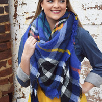 blue & yellow plaid blanket scarf