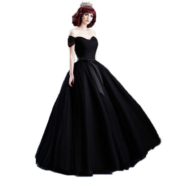 Black Lace bride's prom Dresses the stage performance long princess prom Dresses new 10022 S