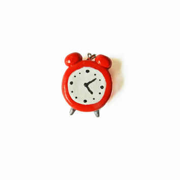 Polymer Clay Charm - Alarm Clock Charm - Red Jewelry - Old Fashion Alarm Clock - Red Alarm Clock - Polymer Clay Pendant - Kawaii Charm