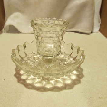 VINTAGE CRYSTAL FOOTED VOTIVE CANDLE HOLDER