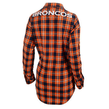 Denver Broncos Klew Women's Wordmark Flannel Long Sleeve Shirt - Orange