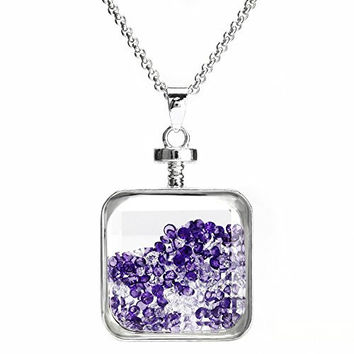 Beadnova Vintage Square Glass Wishing Bottle Pendant Korean Mixed Color Crystal Diamond Necklace Jewelry Gift Box Packing Set M03