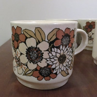 "Vintage 1970s Set of Six (6) Johnson of Australia ""Lausanne"" Pattern Mugs / Retro Coffee Mugs / Tea Cups / Flower Power"