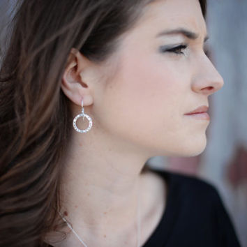 Sterling Silver Hammered Dangle Earrings - Round