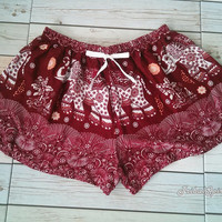 Red Elephant Unique Summer Beach Shorts Exotic Clothing Aztec Ethnic Boho Hobo Tribal Printed Hippies Bohemian Ikat Cute Casual Paisley