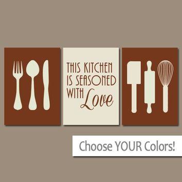 KITCHEN Wall Art, Canvas or Prints, Utensils Quote Decor, Seasoned LOVE, Flower Burst, Choose Colors Set of 3 Home Decor Pictures Wall Decor