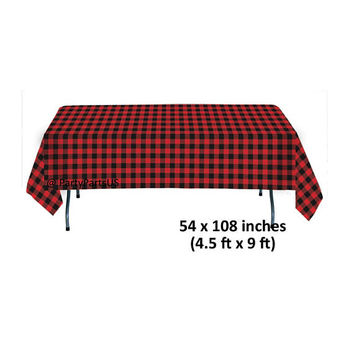 lumberjack plaid table cover, cozy Christmas party supplies, red flannel, rustic Thanksgiving, birthday party tablecloth, lodge, winter