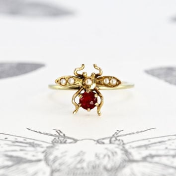 Victorian Ruby and Pearl Bug Ring, 14k Yellow Gold Antique Insect Bee Fly Bohemian Bridal Nature Lover Statement Ring, Conversion Jewelry