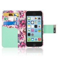 iPhone 5C Wallet Case, EMPIRE KLIX Klutch Designer Wallet [4 Slots] Inner Hard Polycarbonate Felt Lining Case for iPhone 5C with Magnetic Flap & Hand Strap [Perfect Fit & Precise Port] - Vintage Pink Flower