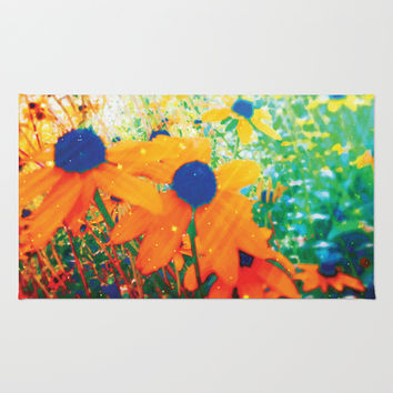 Flowers in the Sun Rug by NisseDesigns