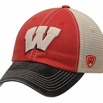 Wisconsin Badgers Top of the World Faded Red Offroad Adjustable Snapback Hat Cap