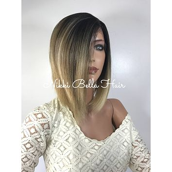 Light Honey Blond Multi Parting Human Hair Blend Lace front wig 10'