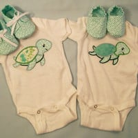 Twins Baby Bodysuits and Shoes, Baby Boy Bodysuit, Baby Girl Bodysuit, Turtles Embroidered Bodysuits, Baby Shower Gift , #25