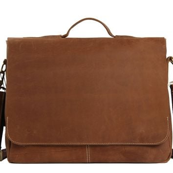 BLUESEBE MEN VINTAGE BROWN LEATHER MESSENGER BAG 7108-VB