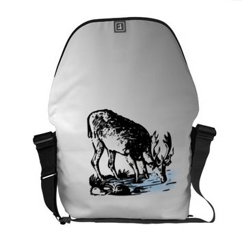 Moose in Stream Courier Bag Great Looking Silver