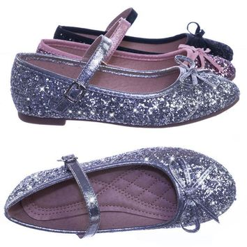Marina36K Children Girls Glitter Ballerina Ballet Flat Round Toe Mary-Jane Strap