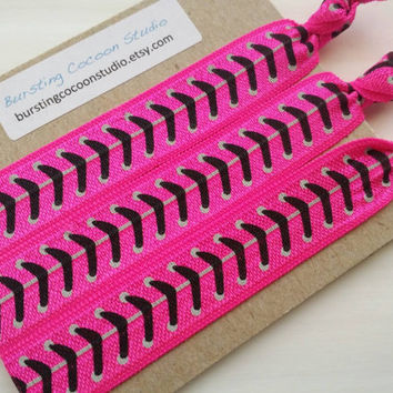 Pink softball hair ties, set of 3 hairties, FOE knot elastic ponytail holders, hot pink with black stitches print, sports hair ties