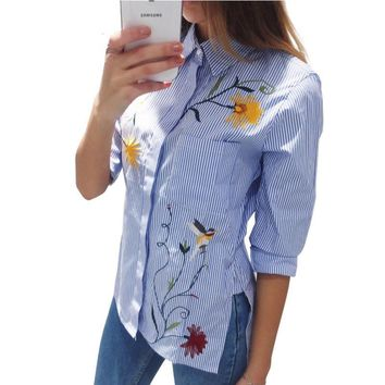 Floral Embroidery Striped Long Sleeve Blouse