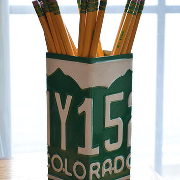 Colorado License Plate Pencil Holder - Pencil Cup - Pen Holder - Desk Organizer - Desk Accessories - Office Decor - New Job Gift - Pen Cup