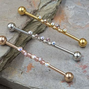 Aurora Borealis Beaded 14g Industrial Barbell Silver Gold Rose Gold
