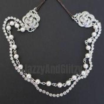Bridal Hair Jewelry Swarovski Pearl Link Silver Rose Crystal Head Chain for Vintage Art Deco Weddings