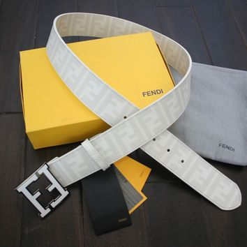 Authentic WHITE Fendi College FF Buckle Belt Zucca 90 cm 30-32