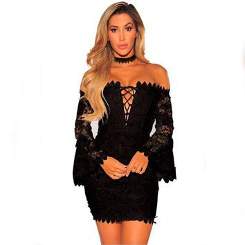 Off Shoulder Black Lace Party Dress with Wide Cuffs