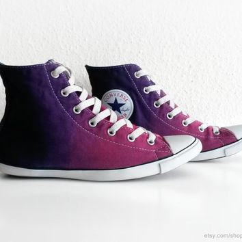 Orchid to deep purple ombre Converse Lite Hi, dip dye upcycled vintage sneakers, All Stars, size eu 37.5 (23.6 cm insole, US Wo's 6.5)