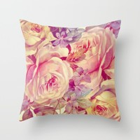 soft vintage roses Throw Pillow by clemm