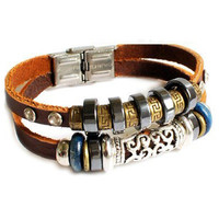 Adjustable buckle bracelet leather bracelet men bracelet women bracelet boys bracelet made of leather metal and wood beads cuff  SH-2323