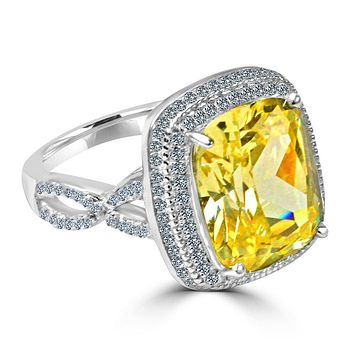 5 CT.(10x12mm) Intensely Radiant Emerald Cushion Center Canary Diamond Veneer Cubic Zirconia with Halo Pave Set in Sterling Silver Ring. 635R0248-canary
